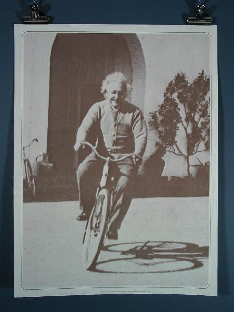 Albert Einstein on bicycle at Cal-Tech